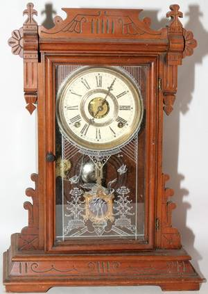 102454 EASTLAKE STYLE CARVED MAHOGANY MANTLE CLOCK