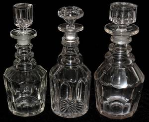 091511 CUT GLASS DECANTERS 19TH C TWO  ANOTHER
