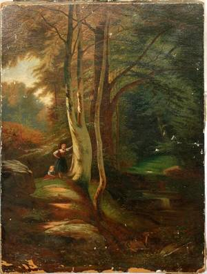 012487 UNSIGNED OIL ON CANVAS C 1900 28 X 19