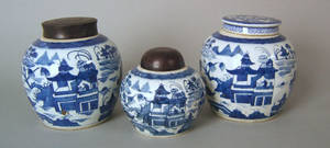 Three Chinese export Canton ginger jars