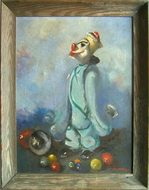 Oil on canvas portrait of a clown