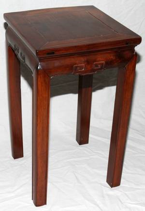 091560 CHINESE SMALL TEAK TABLE H 24 W 14