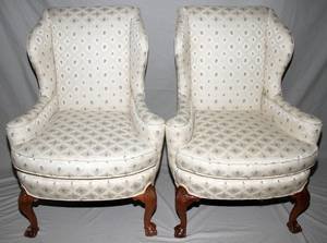 091522 CHIPPENDALE STYLE MAHOGANY WING BACK CHAIRS