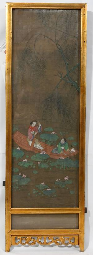 121583 CHINESE PAINTED SILK PANEL LATE 19TH C 28