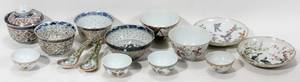 120485 CHINESE PORCELAIN TEA BOWLS  JAPANESE SPOONS