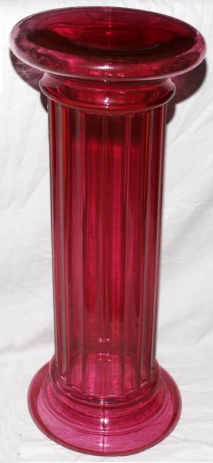100497 CRANBERRY GLASS FLUTED PEDESTAL H 21 DIA 16