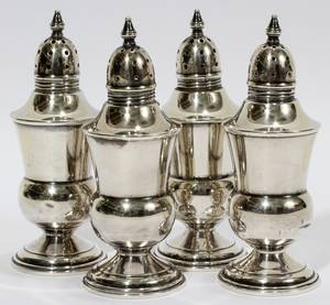 101639 STERLING SALT  PEPPER SHAKERS TWO PAIRS