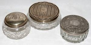 091578 CUT GLASS  STERLING SILVER DRESSER JARS