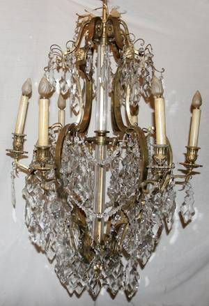 121034 BRONZE  CRYSTAL 6LIGHT CHANDELIER EARLY 20TH