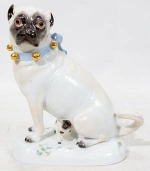 121028 MEISSEN PORCELAIN FIGURE PUG WPUP EARLY 20TH
