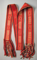 Northeast red green and tan wool assumption sash midlate 19th c