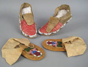 Pair of Sioux beaded and quilled hide moccasins late 19th c
