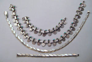 Mexican silver and turquoise necklace and bracelet