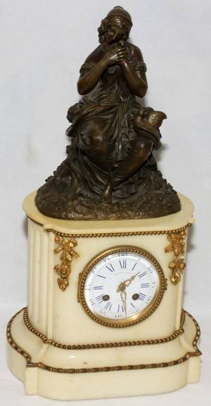 121024 FRENCH BRONZE  MARBLE FIGURAL CLOCK