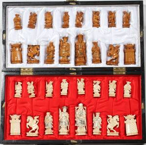 120007 CHINESE CARVED IVORY CHESS SET  BOARD