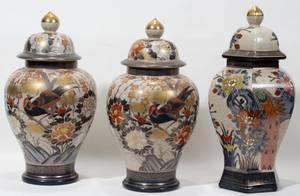 110036 JAPANESE CRACKLE GLAZE COVERED URNS THREE