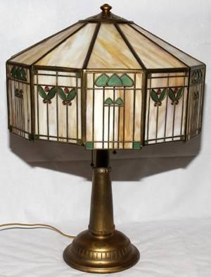 101030 HANDEL TWELVESIDED SLAG GLASS LAMP H 25