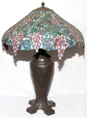 101029 HANDEL LEADED GLASS TABLE LAMP EARLY 20TH C
