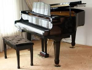 100017 YOUNG CHANG BLACK EBONY BABY GRAND PIANO H 39