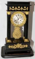 091052 FRENCH EMPIRE STYLE EBONIZED PORTICO CLOCK