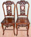 051103 CHINESE CARVED WOOD  MARBLE SIDE CHAIRS PAIR