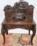 041072 CHINESE CARVED TEAKWOOD  LACQUERED DESK H 57
