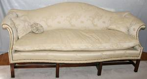 031064 ENGLISH CHIPPENDALE STYLE CAMEL BACK SOFA