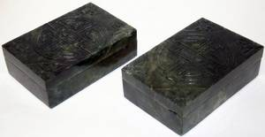 051151 CHINESE SPINACH JADE BOXES TWO H 2 L 5