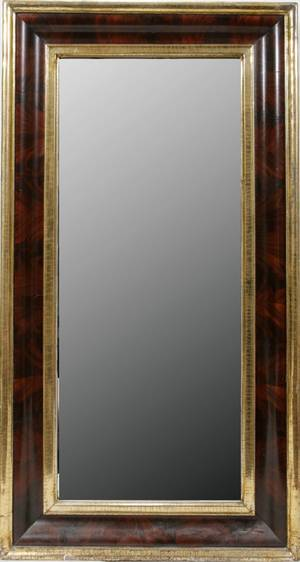 030086 AMERICAN EMPIRE MAHOGANY  GILT MIRROR H 51