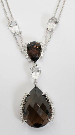 010079 14KT WHITE GOLD DIAMOND  TOPAZ NECKLACE L 16