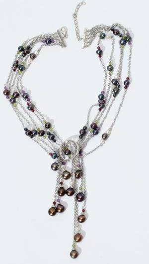 010077 MULTICOLOR PEARL AND STERLING SILVER NECKLACE