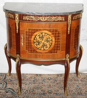 041140 FRENCH STYLE MARBLE TOP COMMODE H 29