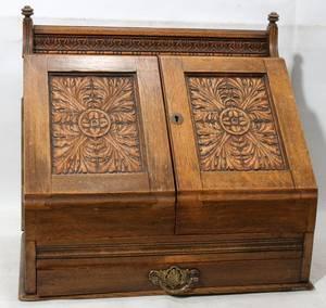 041124 ENGLISH OAK LETTER BOX C 1890 H 14 W 15