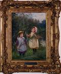 032107 WILLIAM G HOOPER OILCANVAS 12 X 9 2 GIRLS