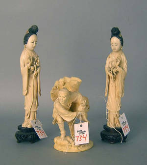 Three Chinese carved ivory figures