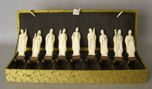 Cased set of 9 Chinese carved ivory immortals