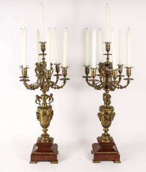 Pair of French Gilt Bronze 7 Light Candelabras