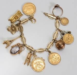 021089 14KT GOLD BRACELET L 6 WCHARMS  GOLD COINS