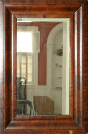 021086 AMERICAN EMPIRE MAHOGANY LOOKING GLASS C 1840