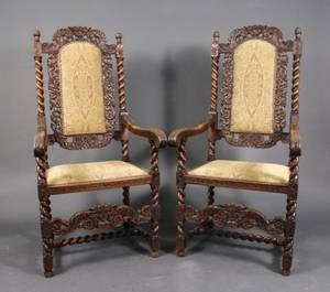 Pair of Carolean Style Oak Throne or Elbow Chairs
