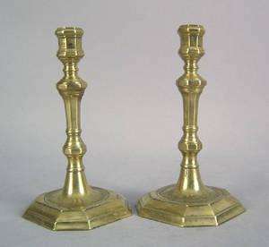 Pair of English brass candlesticks late 18th c