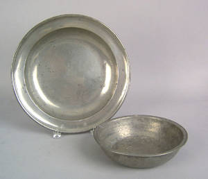 English pewter charger by Townsend  Compton ca 1800