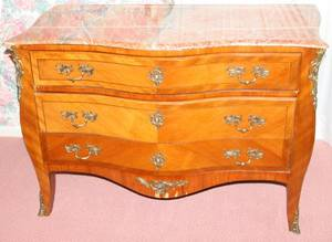 032126 LOUIS XV STYLE FRUITWOOD BOMBE COMMODE H 34