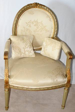 031162 FRENCH LOUIS XVI STYLE ARMCHAIR C 1900