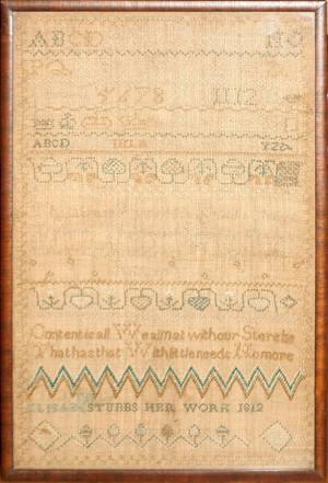 030143 AMERICAN NEEDLEWORK SAMPLER SIGNED C1812