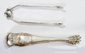 021162 GEORGE III  FRENCH SILVER SUGAR TONGS 2 L 6