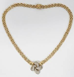 020153 14KT ITALIAN YELLOW GOLD AND DIAMOND NECKLACE