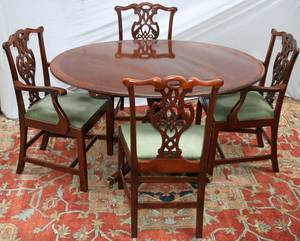 011218 BAKER FURNITURE MAHOGANY DINING TABLE  CHAIRS