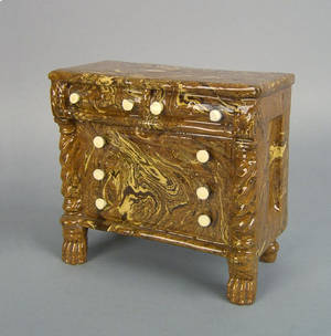 English redware chest of drawers bank 19th c