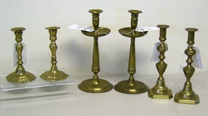 Pair of brass beehive candlesticks